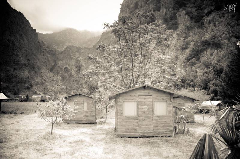 butterfly valley shacks black and white